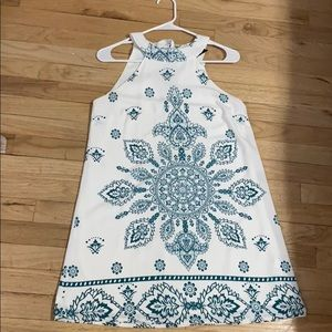Lulus white and teal summer dress